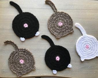 Cat Butt Coasters - Crocheted Catt Butt Coaster - Cat Bum Coaster