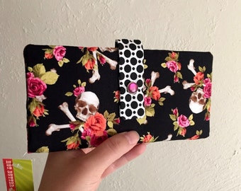 Skull and Crossbones with Flowers - Long Wallet Clutch - Card Slots, Zipper, Cash