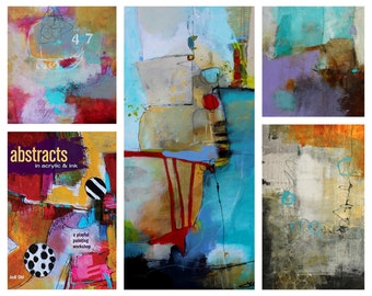 Original Abstract Painting 10 x 10 & Book w/shipping:  Abstracts in Acrylic in Ink Signed book and cover painting print by Jodi Ohl