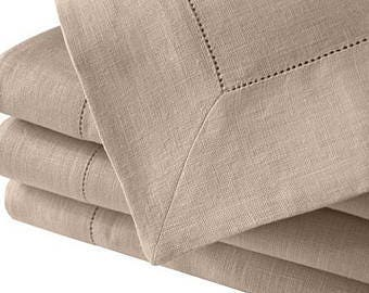 """65""""x84"""" Rectangular cotton/linen beige tablecloth"""