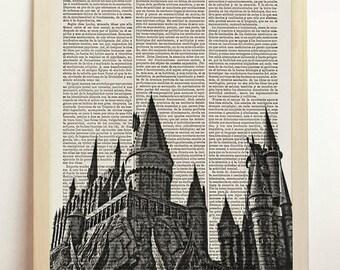 Hogwarts Castle Harry Potter Poster Black White Print Magic Minimalist Upcycled Decor Book Dictionary Gift Birthday