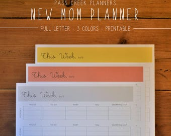 New Mom Planner, New Mom Survival, Baby Planner, New Mom Organizer, Baby Shower Gift, Weekly Planner, Mom Gift