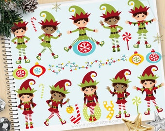Santa's Elves Clipart, Cute Elf, Christmas lights, Elf hat, Candy Cane, Ornaments, Commercial Use, Vector clip art, SVG Cut Files