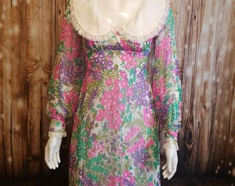 Vintage- 60's, Couture floral maxi dress/ sheer panel overlay/ XS