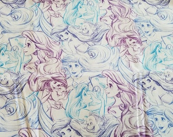 Little Mermaid Drawing Sketch Disney Fabric 1 yard 24 inches |  Princess Ariel Fabric |  Disney Cotton Fabric  | Fabric by the Yard