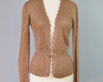 Coppery Beige Lurex Sweater / Vtg 90s / Stephanie Slim fitting Lurex Sweater / Size Medium