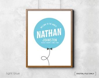 Balloon personalised Birth Print  - Baby Name Art - Birth Announcement - baby wall decor -Baby Nursery Decor Wall Art - DIGITAL FILE