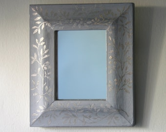 Small Gilded Mirror in Silvery Caplain Gold Leaf