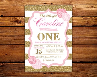 ONE Invitation. 1st Birthday Party Invitation. Girl First Birthday Invitation. Pink and Gold Girl. Teen Invitation. Any age.Floral.