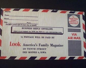 Look Magazine 1937-71 * Vintage Business Reply Envelope*Air Mail*Unused