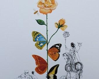 Salvador DALI - Rose Papillon - lithograph #800ex 1979