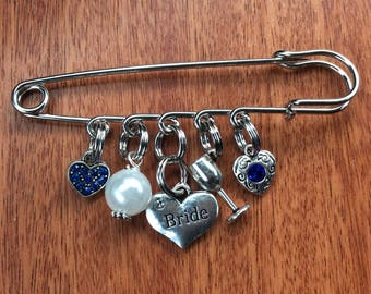 Something Blue For Bride, Something Old Something New Borrowed Something Blue, Bridal Pin, Wedding Pin, Something Blue, Bride Gifts, Bride