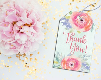 Floral Thank You Tags, Thank You Tags, Printable Thank You Tags, Party Favor Tags, Party Favor Printable, Peony Party Favor, Floral Party