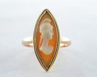 Vintage 10k Yellow Gold Cameo Ring - Size 4.75