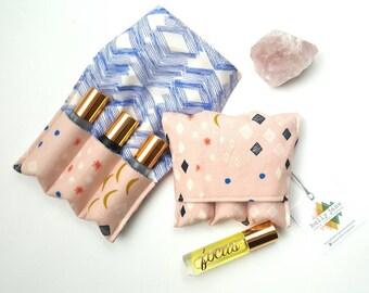 Essential Oil storage, small roller bottle case, essential oil case, essential oil travel pouch, oil pocket, essential oil gift, pink sienna