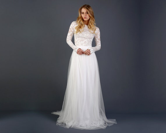 lace and tulle bride dress with long sleeves