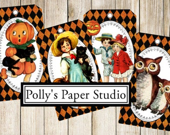 Halloween Tags Retro Collage Digital Images printable download file 8 images