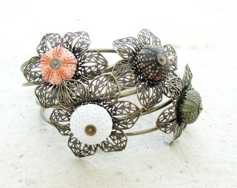 Sea Urchin Collection - Flower Sea Urchin Cuff - Pick Your Color - Pink Brown Green White