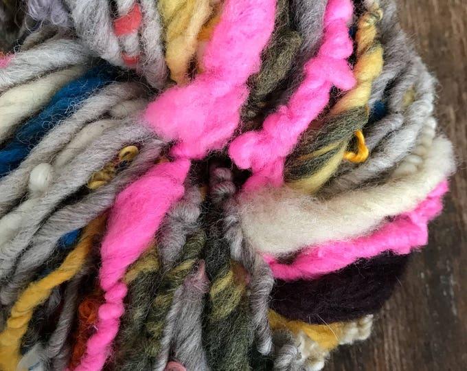 Wake Me Up Before You Go Go REMIX, wild art yarn, 52 yards, multicolored textured art yarn, handspun, bulky wild yarn, weaving yarn