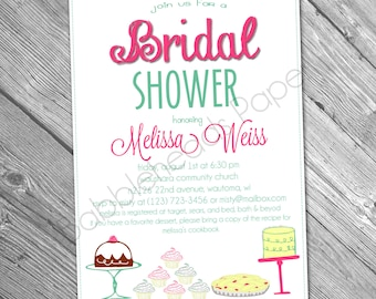 Dessert Themed Bridal or Baby Shower Printable or Physical Invitation