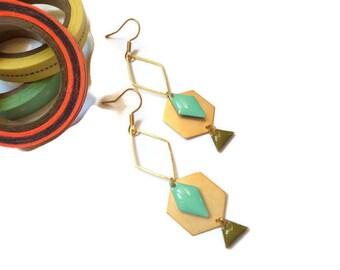 Khaki and gold Mint earrings