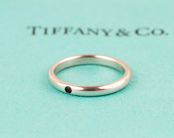 Authentic Tiffany & Co. Silver Elsa Peretti Red Ruby Band Stacking Ring // Size 6.75 // With T and Co Pouch