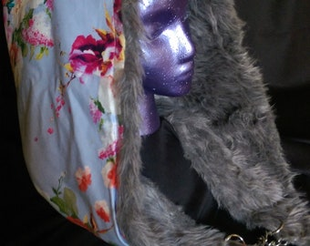 Gray Fur and Floral Festival Hood