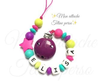 "Silicone pacifier ~ fuschia Star ""Elisa"""