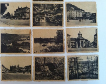 Vintage Nine sepia and black postcard souvenirs from spa Belgium