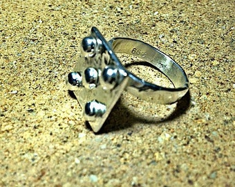 Exclusive 999 fine silver ring, Industrial design with rivets.