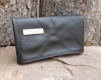 Genuine Leather Black Foldover Clutch Purse