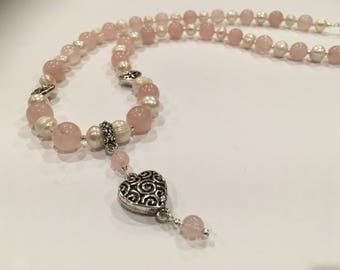 Rose Quartz, Freshwater Pearl and Sterling Silver Heart Necklace