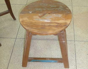 Low Recycled Wood Stool
