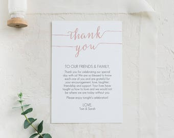 Blush Pink Thank You Card Printable - DIY Editable PDF - Instant Download - Pink Printable - Blush Wedding Favor card - 4x6 inches - #GD1108