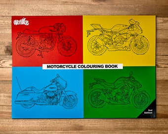 A4 Motorcycle Coloring Book - 33 Coloring Pages - adult colouring