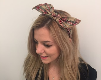 Hand made check hair band with an adjustable bow