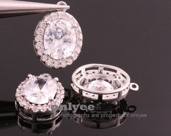 2pcs-17mmX12mmX6mmBright Rhodium plated (clear)LUX Cubic zirconia Oval Pendants Lead Free (K869S)