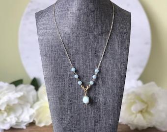 Amazonite gemstone necklace on gold chain