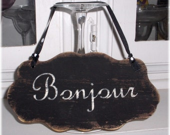 Bonjour Shabby Cottage Wall Decoration Black Wood Sign Custom Sign