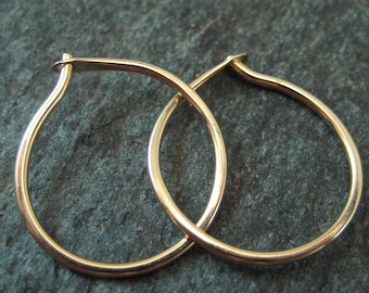 "Small 14k Gold Hoop Earrings, Solid 14kt Hoops, 5/8"" Hoops, Thick Gold Hoops, Hammered Gold Hoops, Fine Jewelry, Metalsmith Jewelry"
