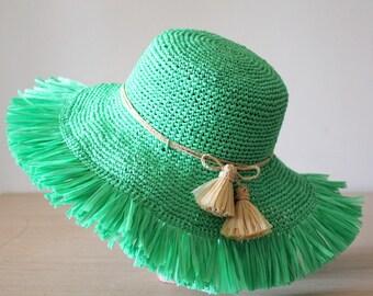 Beach hat Green Straw sun hat womens Frayed hat Floppy beach hat Wide brim Raffia hat Fringe trim Crochet hat women Packable sun hat