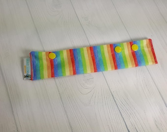 """Long Needle Cozy DPN Holder - Narrow Pastel Rainbow Stripes - project holder 9""""x2"""" - (Hold up to 8"""" Needles) NCL0053"""
