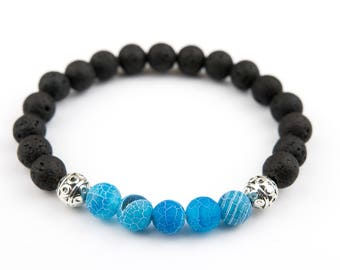 Lava Stones With Cool Blue Stones And Silver Charm Beaded Bracelet 8mm Beads