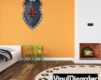 Sheild Wall Decal - Wall Fabric - Vinyl Decal - Removable and Reusable - ShieldUScolor008ET