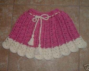 Raspberry and Cream Skirt or PONCHO CROCHET  PATTERN