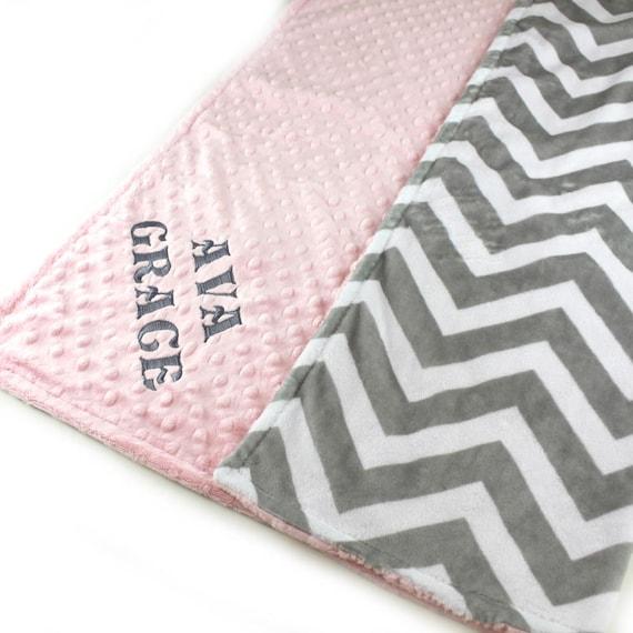 48 x 60 Toddler Blanket, Lilac Gray Chevron Personalized Blanket, Minky Blanket Girl, Minky Throw Blanket, Gift For Her, Kids Minky Blanket