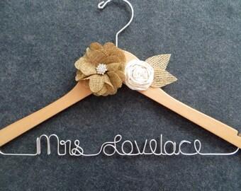 BURLAP Wedding Dress Hanger, Rustic Bridal Hanger, Mrs Hanger, Personalized Hanger, Custom Wedding Hanger, Woodland Wedding, Barn Wedding