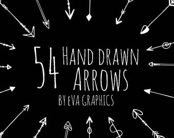 54 Hand drawn arrows clipart-Hand Drawn Arrows Clipart, Doodle arrow clip art, Tribal Arrow Clipart, digital clipart,PNG