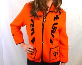 Amazing Felted Wool Bright Orange Jacket Coat