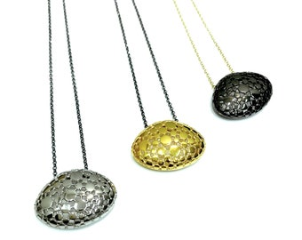 Pendant, silver, gold plated, geometric, minimal